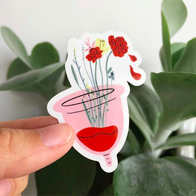 Représentation artistique de la coupe menstruelle pour femmes