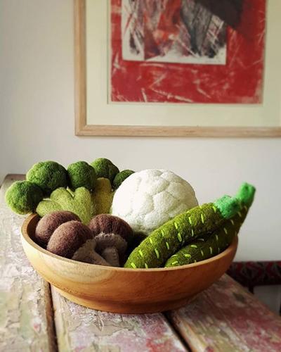 jeu libre, les légumes en feutrine naturelle Papoose